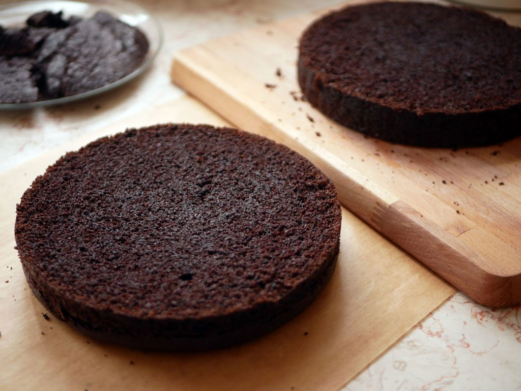 עוגת שוקולד אחרי חיתוך