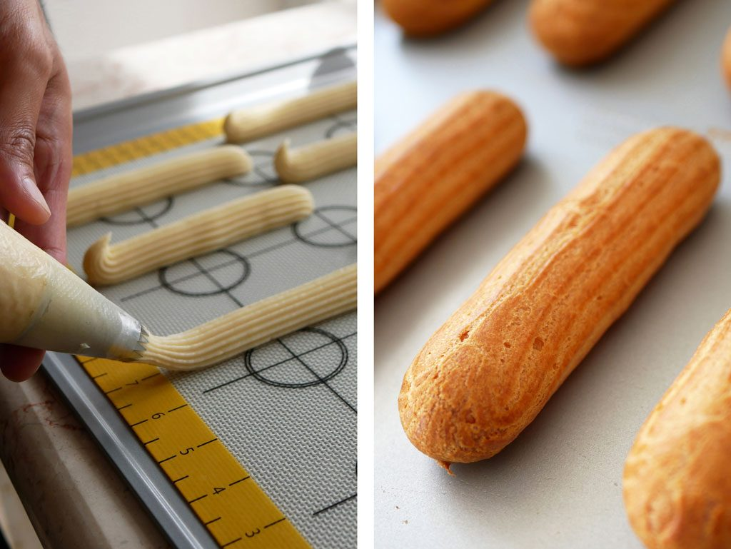 Piping eclairs