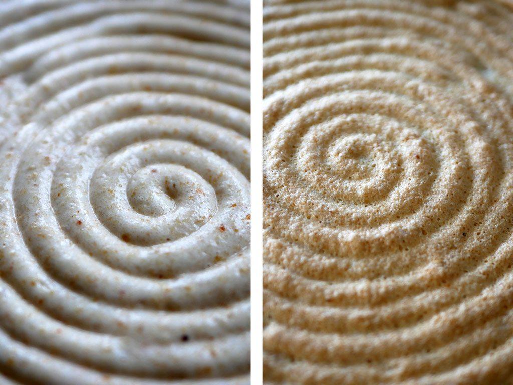 Hazelnut daquoise before & after baking