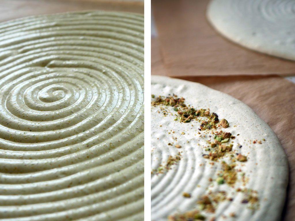 Pistachio macaron shell