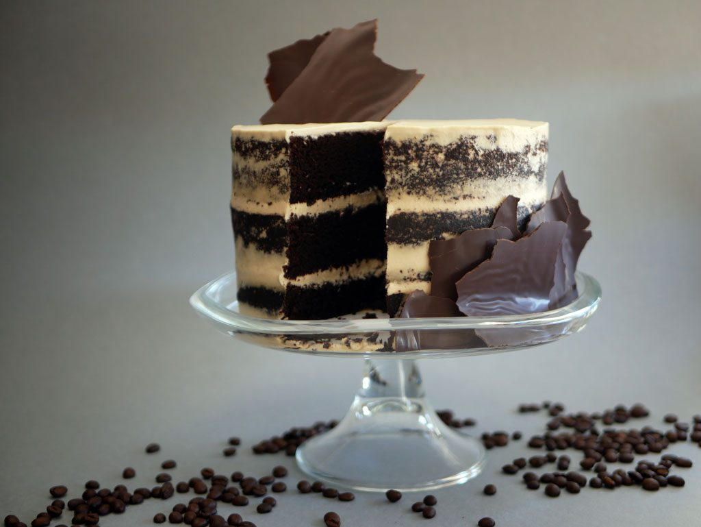 Chocolate cake with mascarpone and coffee chantilly