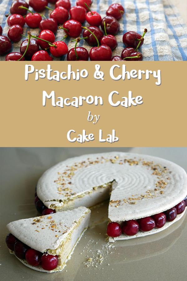 Pistachio and cherry macaron cake