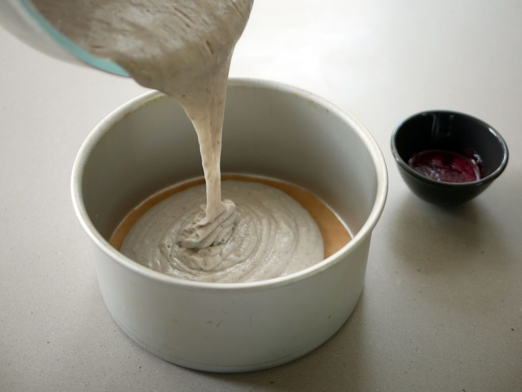 Pouring the batter