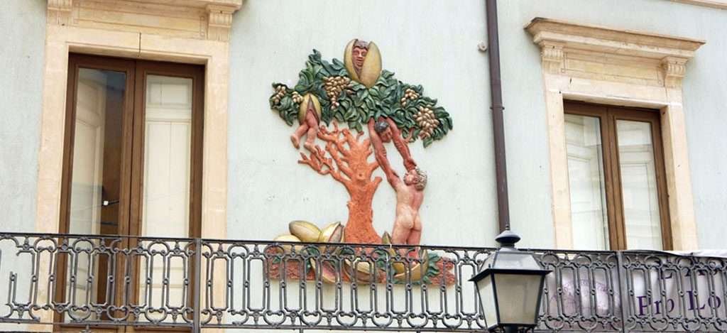 A mural of a pistachio tree in Bronte