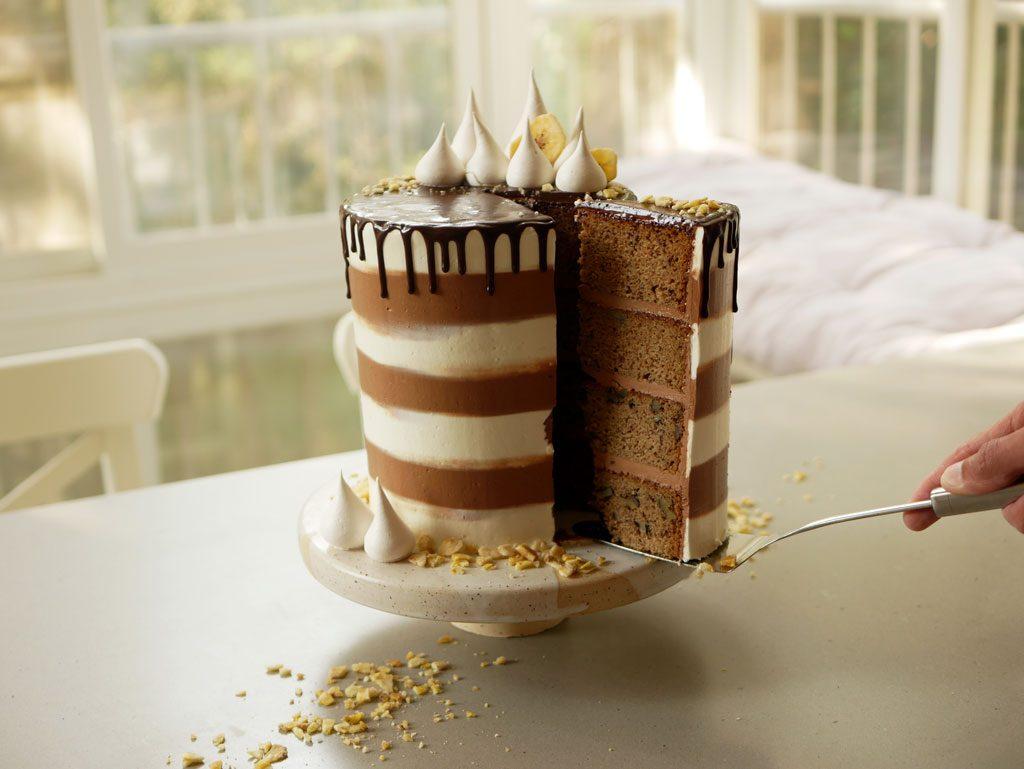 עוגת בננה עם קרם שוקולד