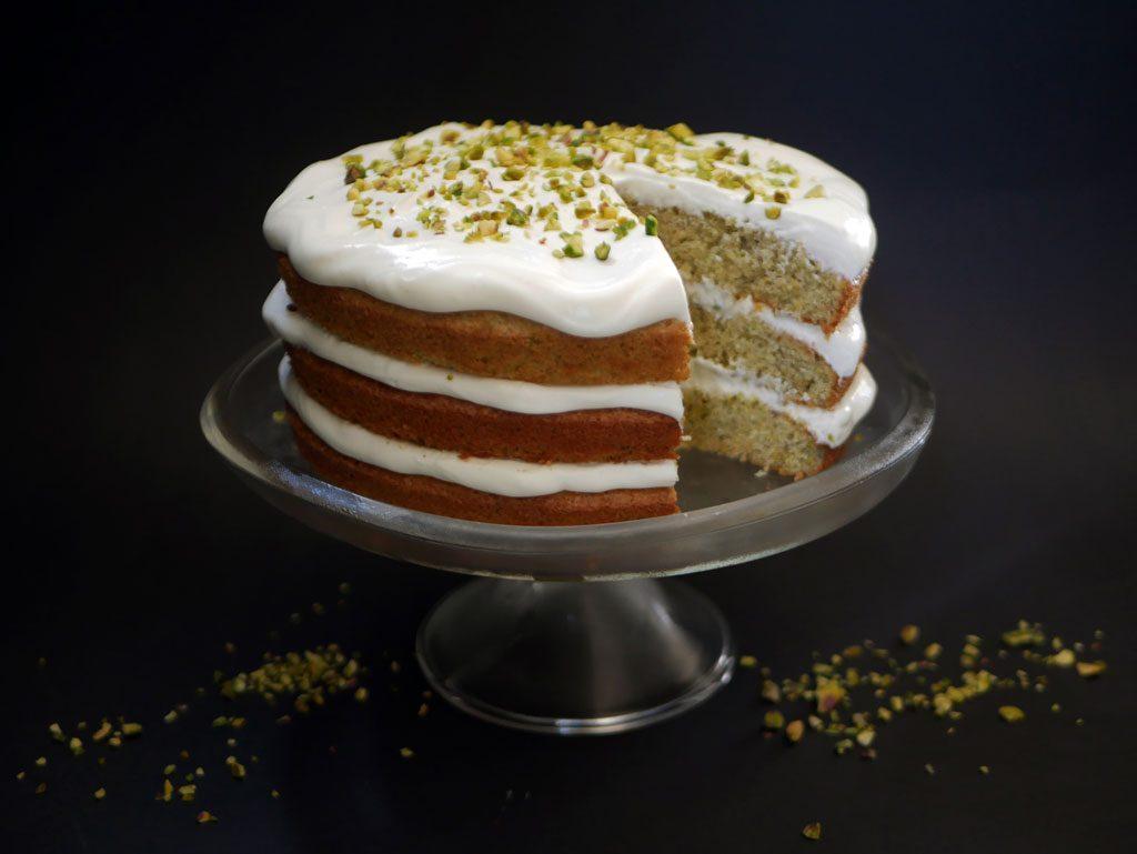 Pistachio Lemon Cake with Mascarpone Frosting