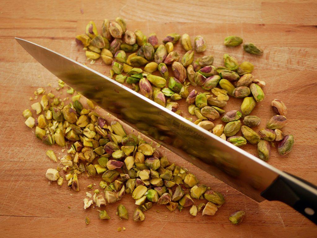chopping pistachios