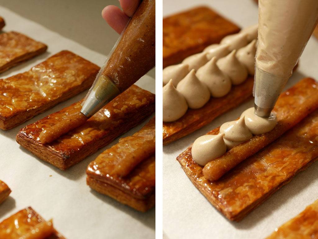 Piping creams for the mille-feuille