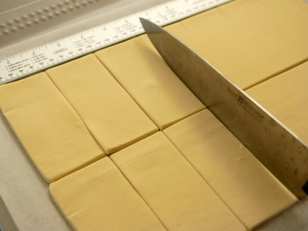 Cutting rectangles from puff pastry