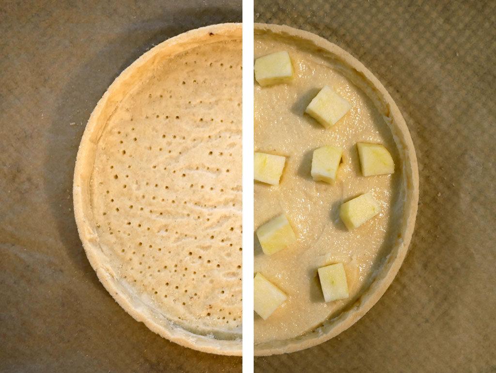 Pre-baked apple tart